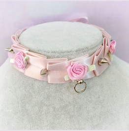 Bdsm Kitten Play Collar Choker Necklace Pale Pink O Ring Bow Spikes Rose Pa