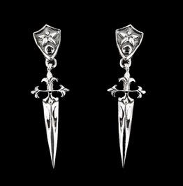 Earrings Sterling Silver Onyx Dagger Cross Medieval Dangle .