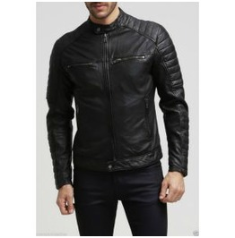 Men Fashion Black Leather Jacket Men Motorcycle Leather Jacket Biker Jacket