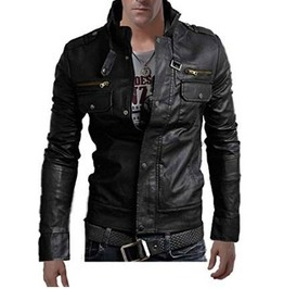 Men Stand Collar Leather Jacket, Black Jacket, Men's Biker Leather Jackets