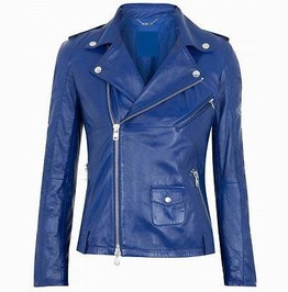 Women Fashion Leather Jacket Women Blue Leather Jacket, Biker Style Jacket
