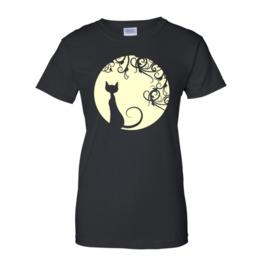 Black Cat In The Moon Women T Shirt