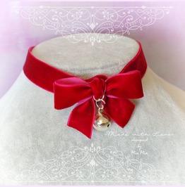 Christmas Choker Necklace Red Velvet Bow Bell Neko Neck Collar , Pastel Got