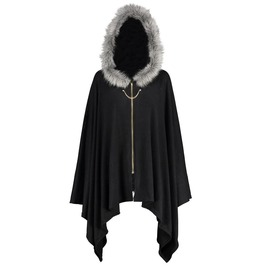 Gothic Long Hood Faux Fur Cape Overcoat Zipper Plus Size