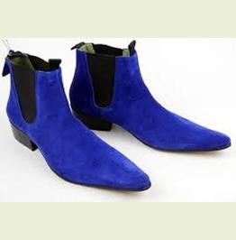 Handmade Men Royal Blue Suede Chelsea Boots, Mens Blue Fashion Chelsea Boot
