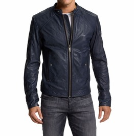 Men Navy Blue Biker Jacket, Mens Leather Jacket, Blue Leather Jackets