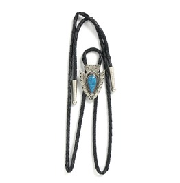 Western Leather Adjustable Cowboy Vintage Tie Clip With Turquoise Gem