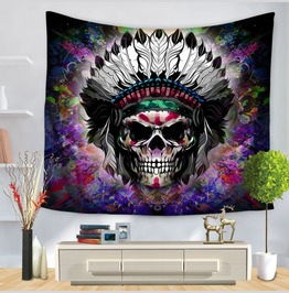 Unique Skull Print Wall Tapestries D44