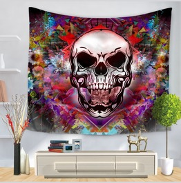 Unique Skull Print Wall Tapestries D48