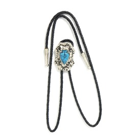 Western Leather Cowboy Vintage Tie Clip H Earth With Turquoise Gem