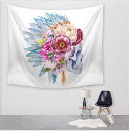 Unique Skull Print Wall Tapestries D52