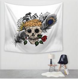 Unique Skull Print Wall Tapestries D54