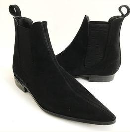 Handmade Men Black Color Suede Chelsea Boots Men Black Fashion Chelsea Boot