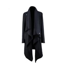 Avant Garde Punk Woolen Long Men Cardigan Irregular Design Trench