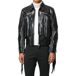 New Black Fringe Leather Biker Jacket, Men Fashion Highway Trendy Jackets