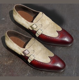 Handmade Two Tone Beige Burgundy Leather Shoes Wing Tip Suede Formal Shoes