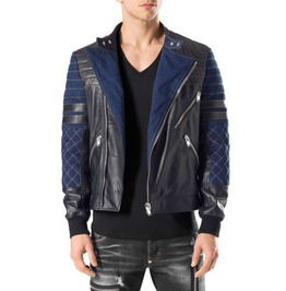 Men Black Blue Leather Bomber Jacket, Biker Designer Trendy Fashion