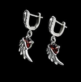 Earring Sterling Silver , Angel Wings Garnet Dangle Earrings E06
