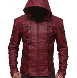 Hooded Arsenal Arrow Colton Haynes Hooded Real Leather Jacket