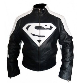 New Customized Men's Handmade Black Super Man Style Biker Leather Jacket