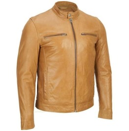 Men Style Tan Color Bomber Leather Jacket, Men Fashion Tan Color Jacket
