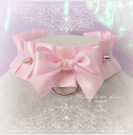 Bdsm Kitten Play Collar Choker Necklace Baby Pink O Ring Bow Spikes Pastel
