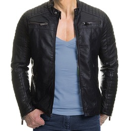 New Men Biker Leather Jacket, Men Fashion Slim Fit Black Leather Jacket