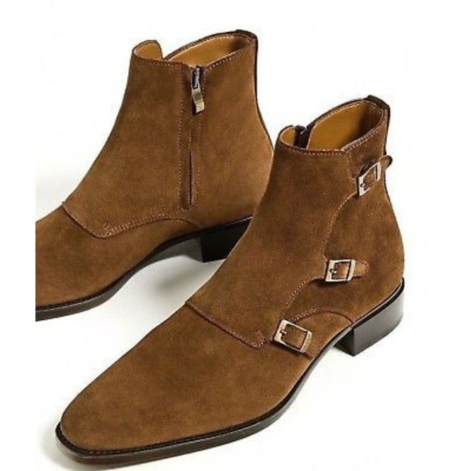171f52160ca0 Handmade Mens Fashion Tan Brown Triple Monk Boots, Men Suede Leather Boots
