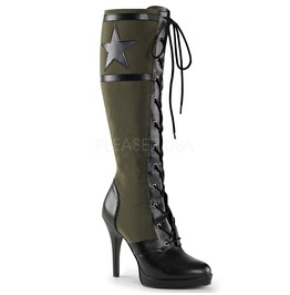 Green High Heel Military Officer Costume Army Green Canvas Boots