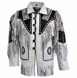 Men White Cow Leather Western Cowboy Jacket With Fringe, Mens Fringe Jacket
