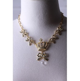 Gothic Gold Chain Necklace With Crystaled Bows And Crown For Women