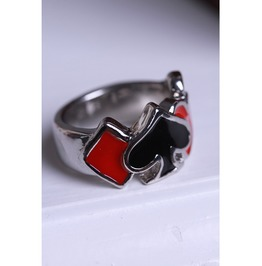 Gothic Silver Ring With Black And Red Four Suits Design