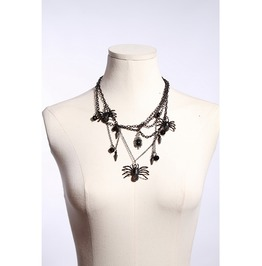 Gothic Black And Silver Chain Necklace Designed With Spiders, Spikes, And Victorian Pendant