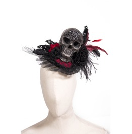 Gothic Black Studded Skull Lacy Headdress With Rose And Feathers