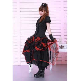 Gothic Black And Red Half Long Skirt With Teared Sheers Design For Women