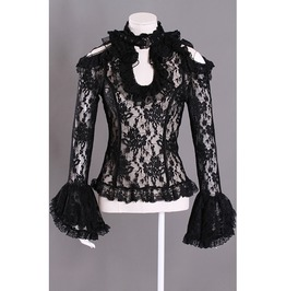 Gothic Black Victorian Style See Through Shirt For Women