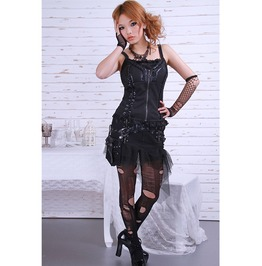 Gothic Black Fitted Skirt With Leather Belts And Lace For Women