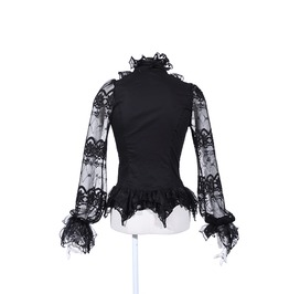 Gothic Black Victorian Buttonup Top With See Through Lace Sleeves For Women