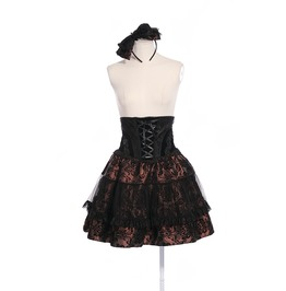 Gothic Black And Brown Corset Dress With Bow Headband For Women