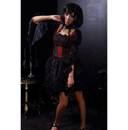 Gothic Black And Red Corset Dress With A Connected Black Choker For Women