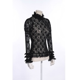 Gothic See Through Lace Black Top With Black Lace Details For Women
