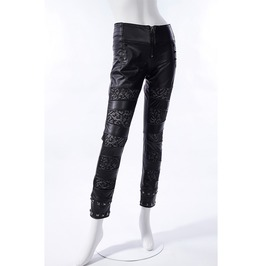 Gothic Black Leather And Lace Pants For Women