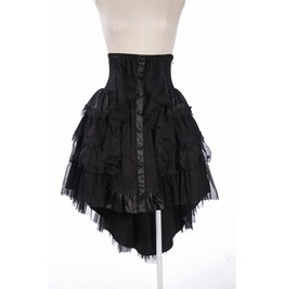 Gothic Black Half Long Multi Layered Skirt With Lace And Leather Details For Women
