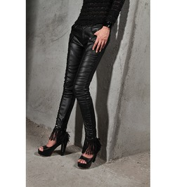 Gothic Black Leather Pants With Fringes For Women