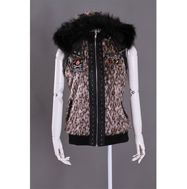 Punk Leopard Zippered Vest With Hood For Women