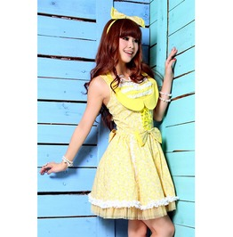 Gothic Yellow Lolita Sleeveless Dress With Tulle Petticoat For Women