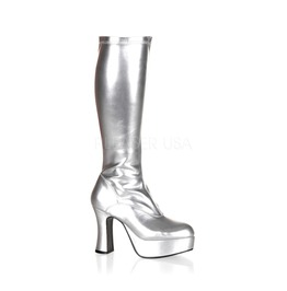 Gogo Dancer 60s 70s Hippie Burlesque Space Costume Silver Boots