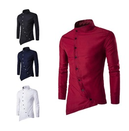 Asymmetric Hemline Collar Long Sleeve Men Shirt