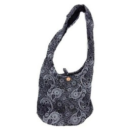 Awesome Black Paisley Design Bag Cotton Lightweight Fabric