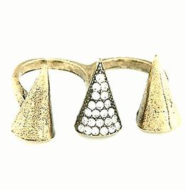 Unique Two Bronze/Gold Colour Metal Rings With Diamante